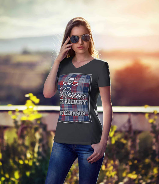 Love Hockey Go Columbus Fan Gifts Checkered Plaid V-Neck T-Shirts For Women-NeatFind.net