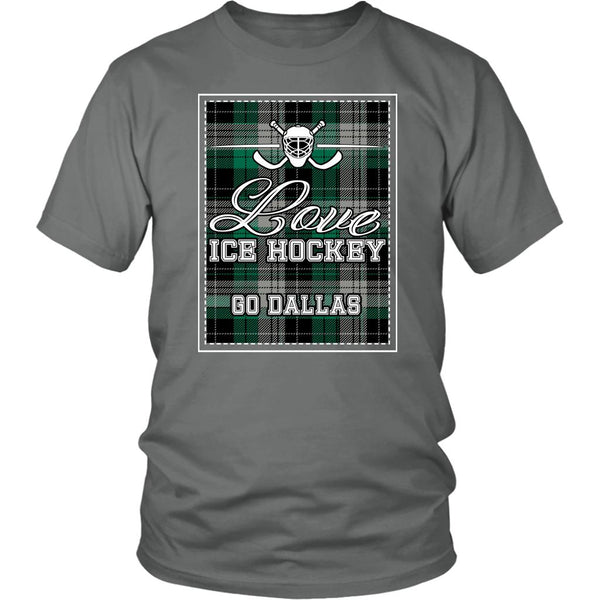 Love Hockey Go Dallas Fan Gifts Checkered Plaid Cool Unisex TShirt Men-NeatFind.net