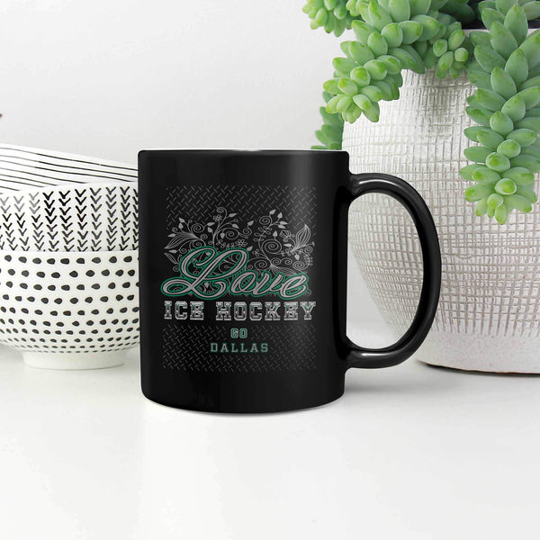 Love Hockey Go Dallas Fan Gifts Diamond Plate Cool Black 11oz Coffee Mug-NeatFind.net