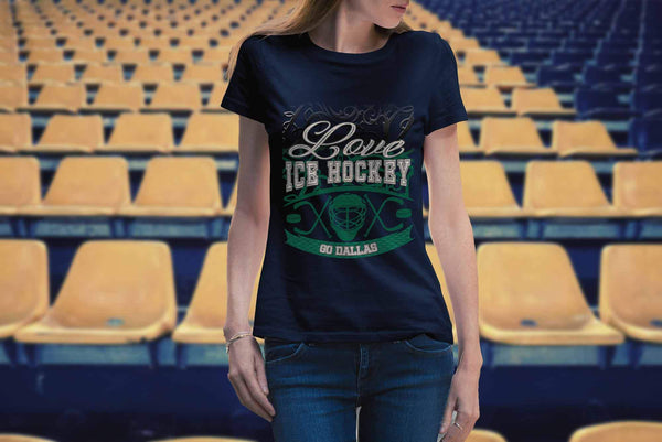 Love Hockey Go Dallas Fan Gifts Gradient Vine Cool T-Shirts For Women-NeatFind.net