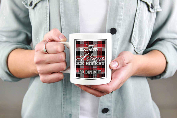 Love Hockey Go Detroit Fan Gifts Checkered Plaid Cool White 11oz Coffee Mug-NeatFind.net