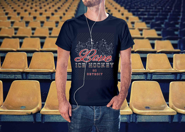 Love Hockey Go Detroit Fan Gifts Diamond Plate Cool Unisex TShirt Men-NeatFind.net