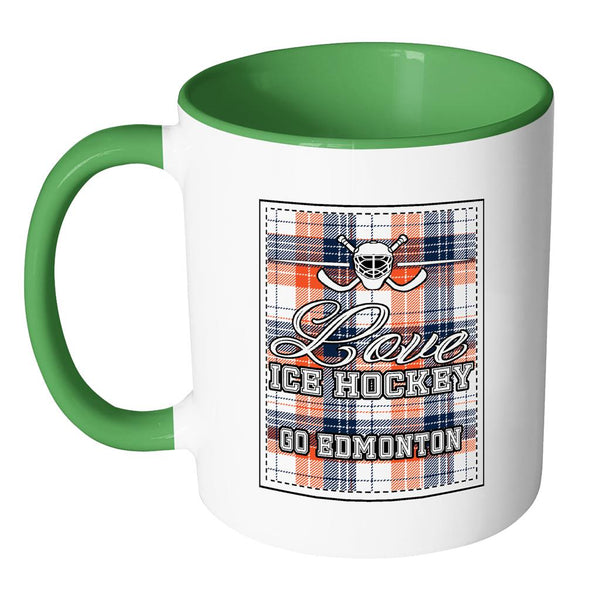 Love Hockey Go Edmonton Fan Gifts Checkered Plaid Cool 11oz 7Colors Mug-NeatFind.net