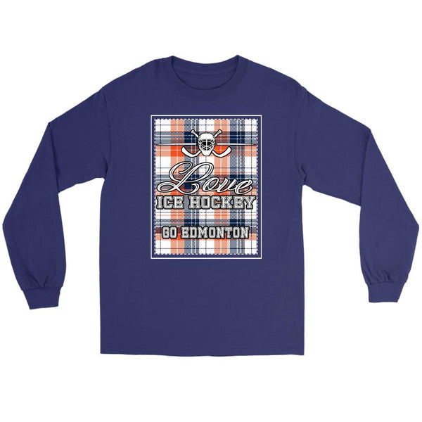 Love Hockey Go Edmonton Fan Gifts Checkered Plaid Cool Long Sleeve TShirt-NeatFind.net