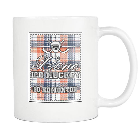 Love Hockey Go Edmonton Fan Gifts Checkered Plaid Cool White 11oz Coffee Mug-NeatFind.net