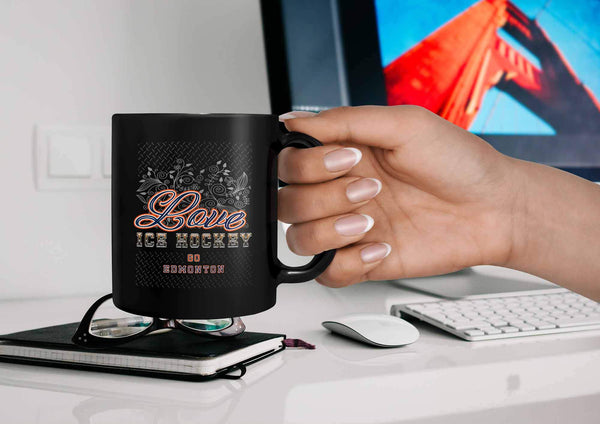 Love Hockey Go Edmonton Fan Gifts Diamond Plate Cool Black 11oz Coffee Mug-NeatFind.net
