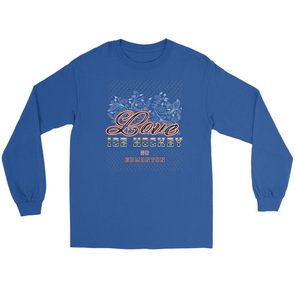 Love Hockey Go Edmonton Fan Gifts Diamond Plate Cool Long Sleeve TShirt-NeatFind.net
