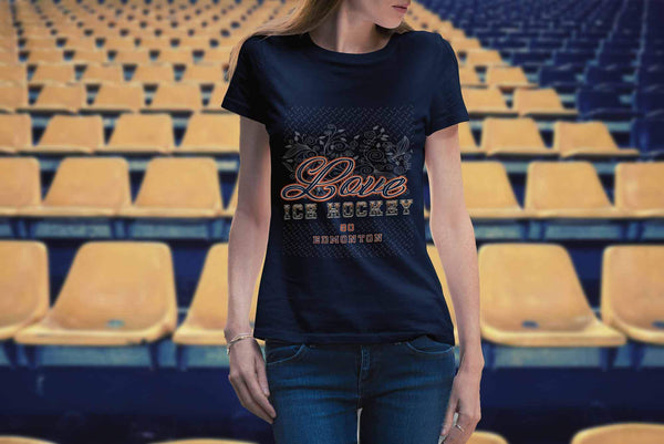Love Hockey Go Edmonton Fan Gifts Diamond Plate Cool T-Shirts For Women-NeatFind.net