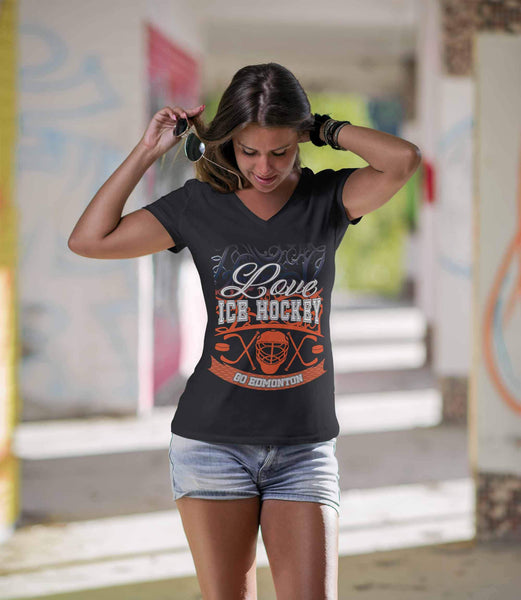 Love Hockey Go Edmonton Fan Gifts Gradient Vine V-Neck T-Shirts For Women-NeatFind.net