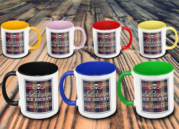 Love Hockey Go Florida Fan Gifts Checkered Plaid Cool 11oz 7Colors Mug-NeatFind.net
