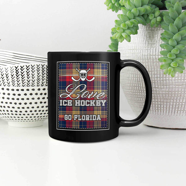 Love Hockey Go Florida Fan Gifts Checkered Plaid Cool Black 11oz Coffee Mug-NeatFind.net