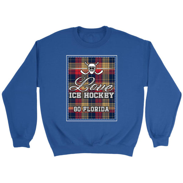 Love Hockey Go Florida Fan Gifts Checkered Plaid Unisex Sweaters Sweatshirt-NeatFind.net