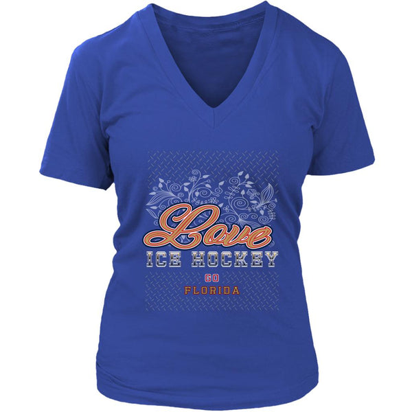 Love Hockey Go Florida Fan Gifts Diamond Plate V-Neck T-Shirts For Women-NeatFind.net