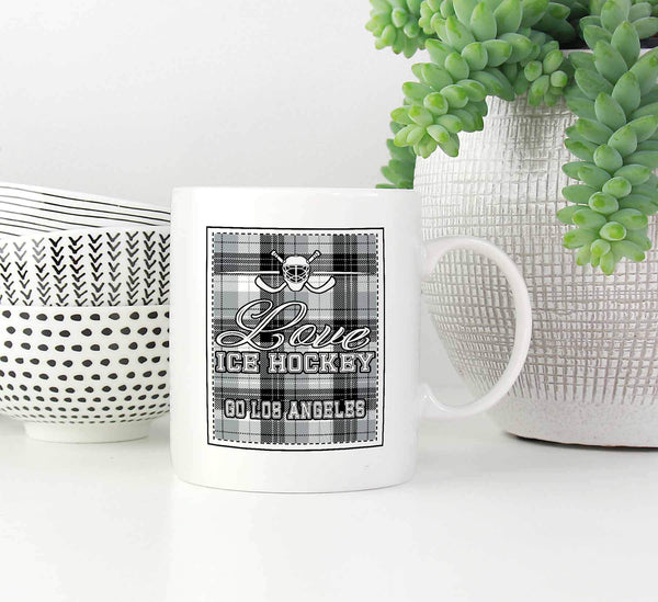 Love Hockey Go Los Angeles Fan Gifts Checkered Plaid Cool White 11oz Coffee Mug-NeatFind.net