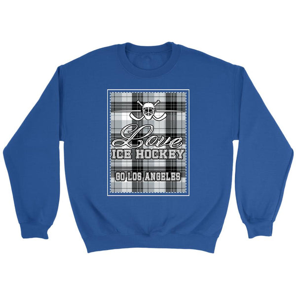 Love Hockey Go Los Angeles Fan Gifts Checkered Plaid Unisex Sweaters Sweatshirt-NeatFind.net