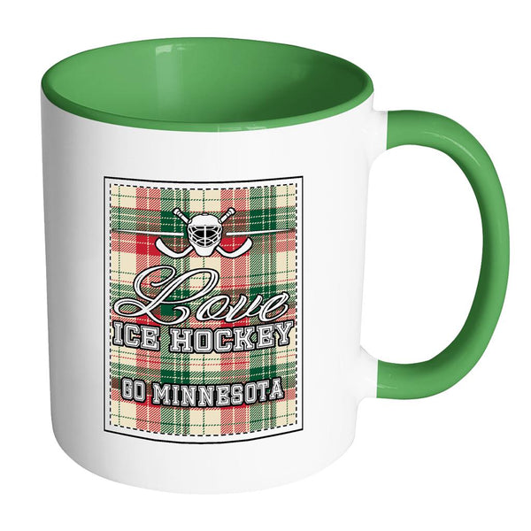 Love Hockey Go Minnesota Fan Gifts Checkered Plaid Cool 11oz 7Colors Mug-NeatFind.net