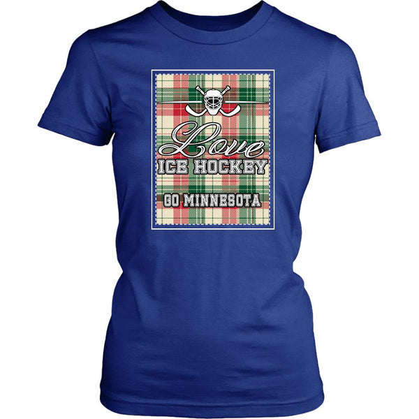 Love Hockey Go Minnesota Fan Gifts Checkered Plaid Cool T-Shirts For Women-NeatFind.net