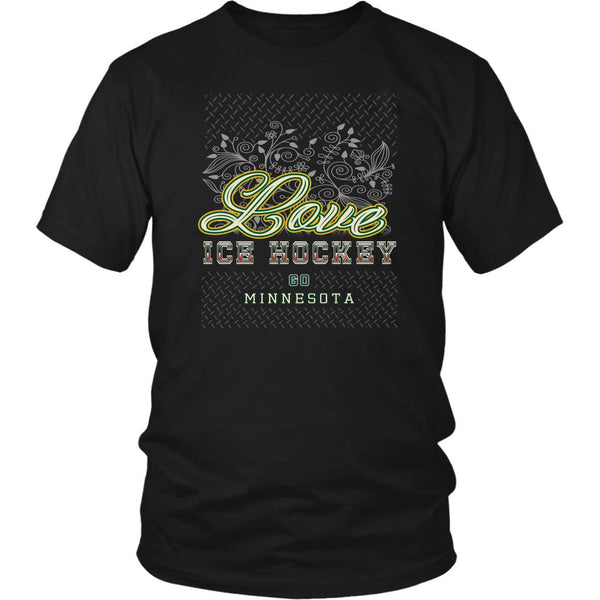 Love Hockey Go Minnesota Fan Gifts Diamond Plate Cool Unisex TShirt Men-NeatFind.net