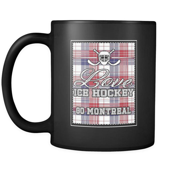 Love Hockey Go Montreal Fan Gifts Checkered Plaid Cool Black 11oz Coffee Mug-NeatFind.net