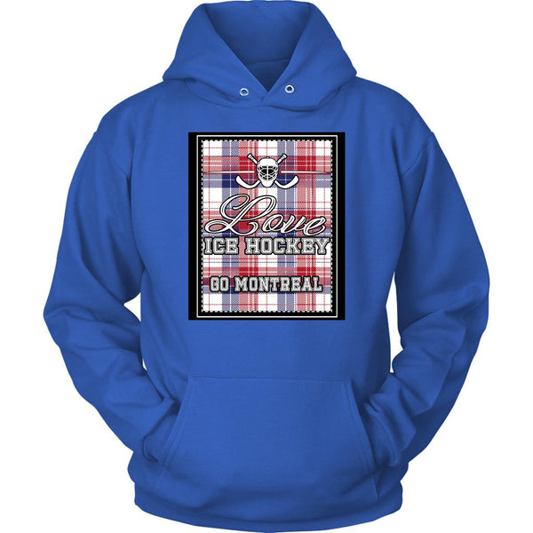 Love Hockey Go Montreal Fan Gifts Checkered Plaid Cool Unisex Hoodie-NeatFind.net