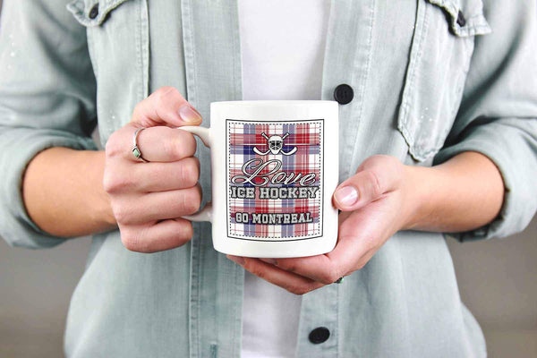 Love Hockey Go Montreal Fan Gifts Checkered Plaid Cool White 11oz Coffee Mug-NeatFind.net