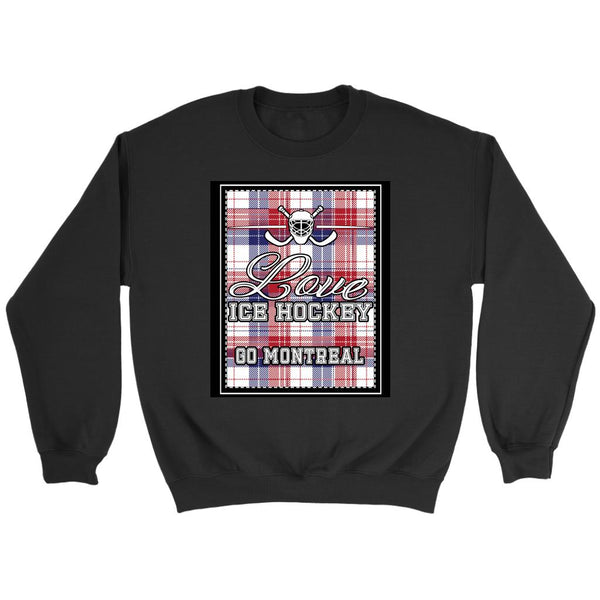 Love Hockey Go Montreal Fan Gifts Checkered Plaid Unisex Sweaters Sweatshirt-NeatFind.net