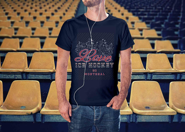 Love Hockey Go Montreal Fan Gifts Diamond Plate Cool Unisex TShirt Men-NeatFind.net