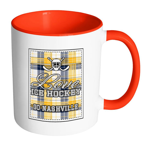 Love Hockey Go Nashville Fan Gifts Checkered Plaid Cool 11oz 7Colors Mug-NeatFind.net