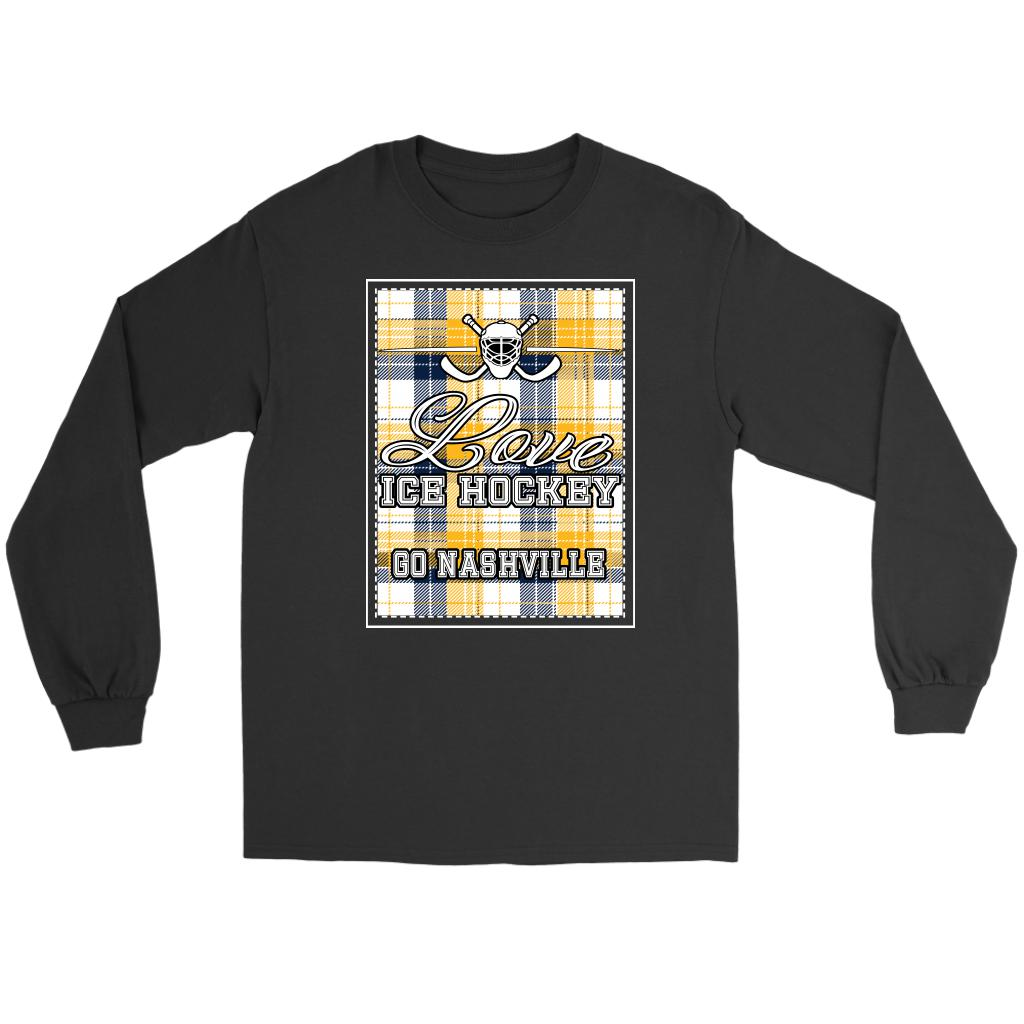 Love Hockey Go Nashville Fan Gifts Checkered Plaid Cool Long Sleeve TShirt-NeatFind.net