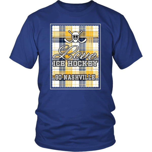 Love Hockey Go Nashville Fan Gifts Checkered Plaid Cool Unisex TShirt Men-NeatFind.net