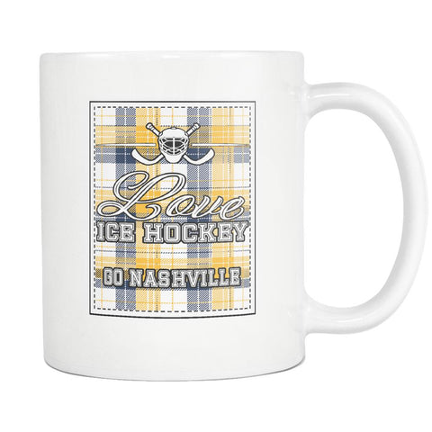 Love Hockey Go Nashville Fan Gifts Checkered Plaid Cool White 11oz Coffee Mug-NeatFind.net