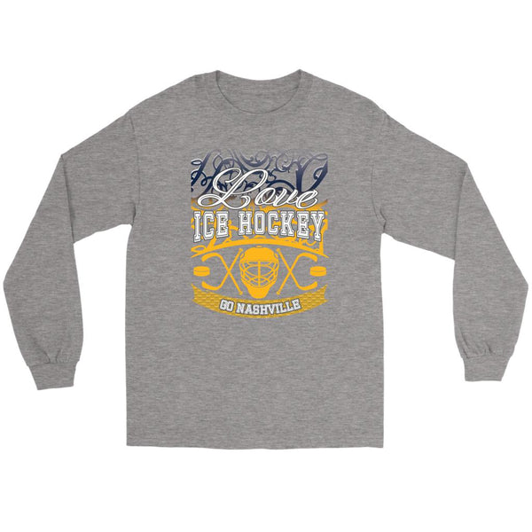 Love Hockey Go Nashville Fan Gifts Gradient Vine Cool Long Sleeve TShirt-NeatFind.net