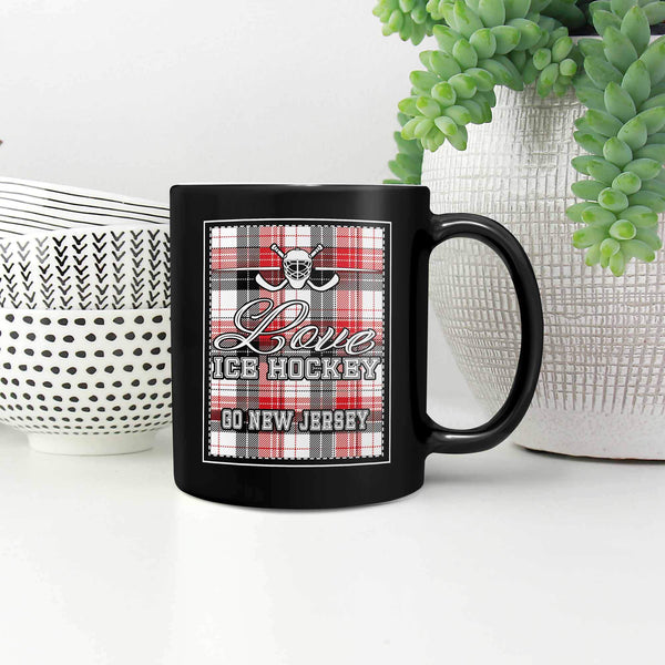 Love Hockey Go New Jersey Fan Gifts Checkered Plaid Cool Black 11oz Coffee Mug-NeatFind.net