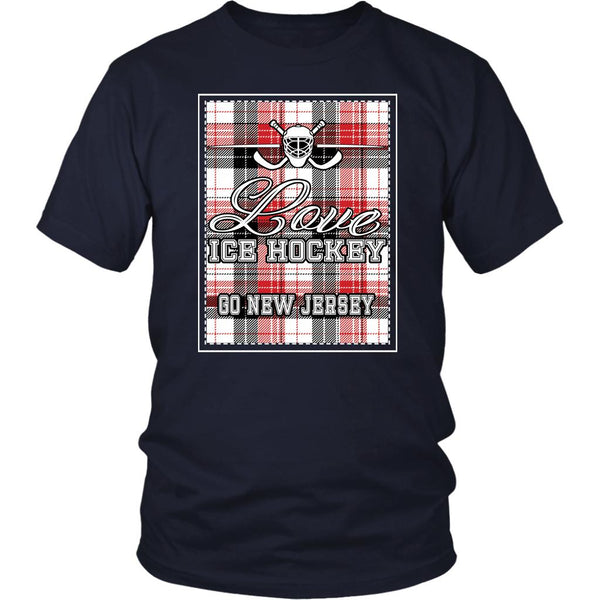 Love Hockey Go New Jersey Fan Gifts Checkered Plaid Cool Unisex TShirt Men-NeatFind.net