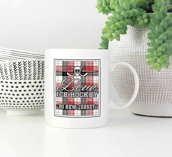 Love Hockey Go New Jersey Fan Gifts Checkered Plaid Cool White 11oz Coffee Mug-NeatFind.net