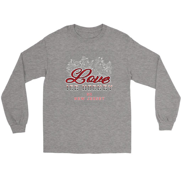 Love Hockey Go New Jersey Fan Gifts Diamond Plate Cool Long Sleeve TShirt-NeatFind.net