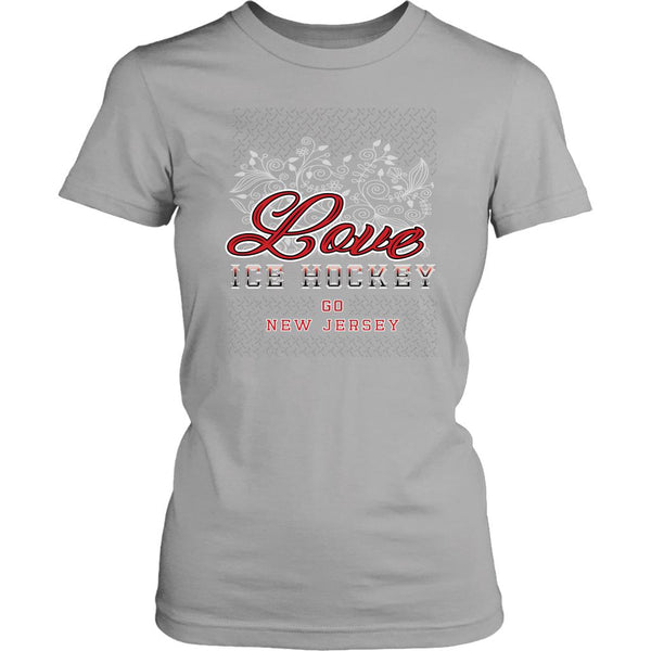 Love Hockey Go New Jersey Fan Gifts Diamond Plate Cool T-Shirts For Women-NeatFind.net