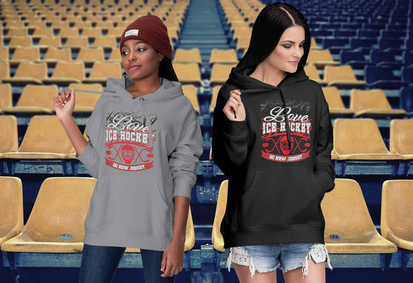 Love Hockey Go New Jersey Fan Gifts Gradient Vine Cool Unisex Hoodie-NeatFind.net