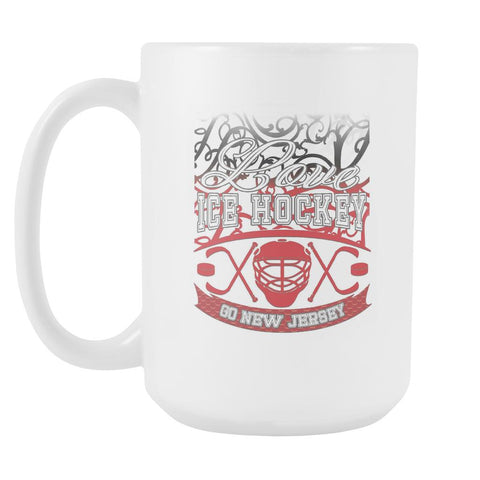 Love Hockey Go New Jersey Fan Gifts Gradient Vine Cool White 15oz Coffee Mug-NeatFind.net