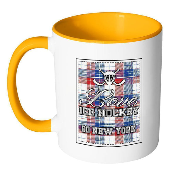 Love Hockey Go New York Fan Gifts Checkered Plaid Cool 11oz 7Colors Mug-NeatFind.net