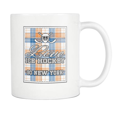 Love Hockey Go New York Fan Gifts Checkered Plaid Cool White 11oz Coffee Mug-NeatFind.net