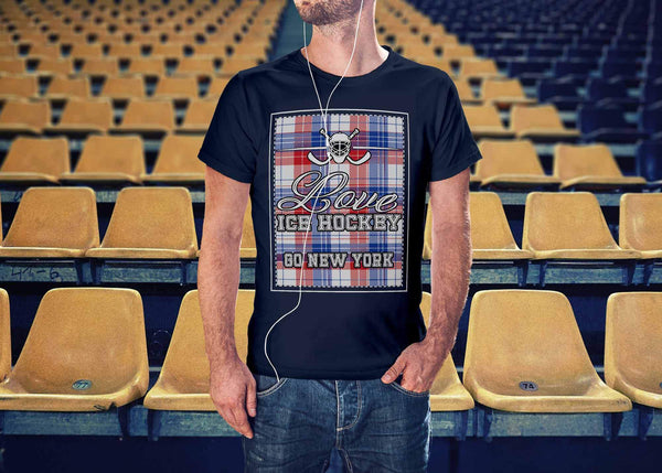 Love Hockey Go New York Fan Gifts Ideas Checkered Plaid Hip Comfy Cozy TShirt-NeatFind.net