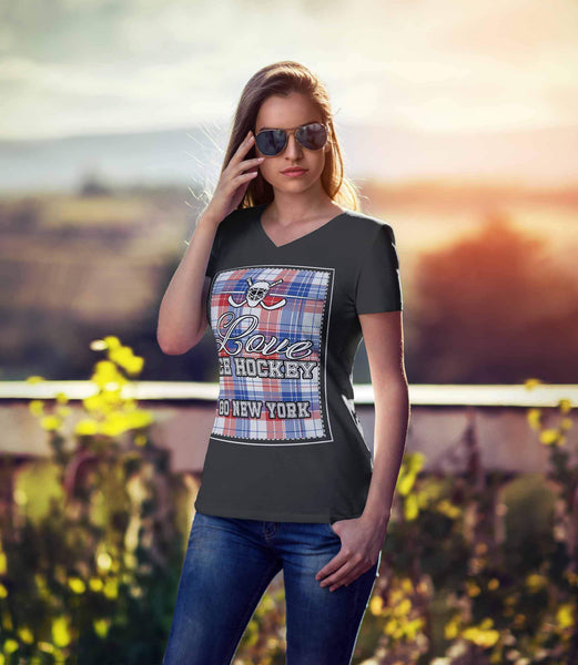 Love Hockey Go New York Fan Gifts Ideas Checkered Plaid Hip Comfy VNeck TShirt-NeatFind.net