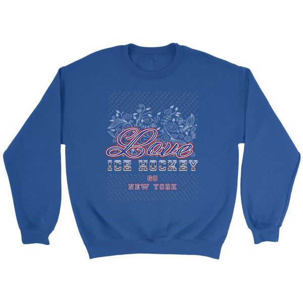 Love Hockey Go New York Fan Gifts Ideas Diamond Plate Hip Comfy Cozy Sweater-NeatFind.net
