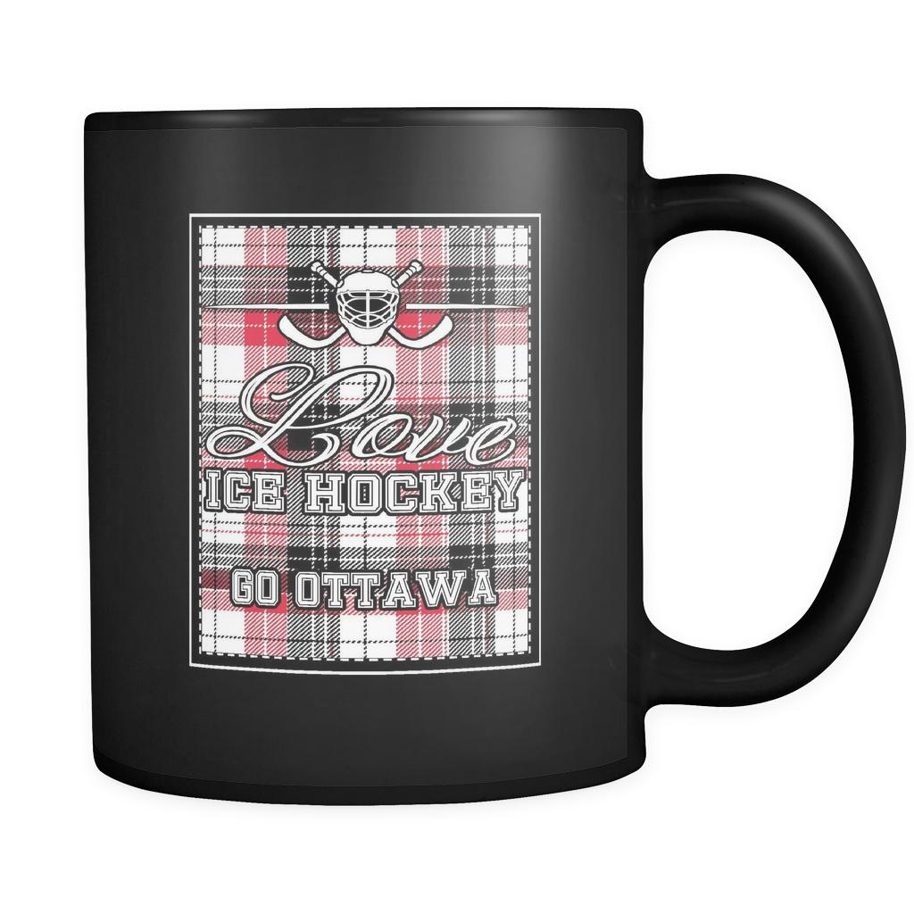 Love Hockey Go Ottawa Fan Gifts Checkered Plaid Cool Black 11oz Coffee Mug-NeatFind.net