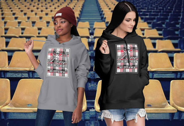 Love Hockey Go Ottawa Fan Gifts Checkered Plaid Cool Unisex Hoodie-NeatFind.net