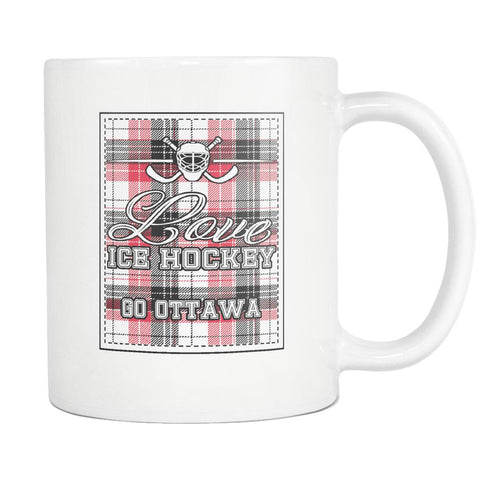 Love Hockey Go Ottawa Fan Gifts Checkered Plaid Cool White 11oz Coffee Mug-NeatFind.net