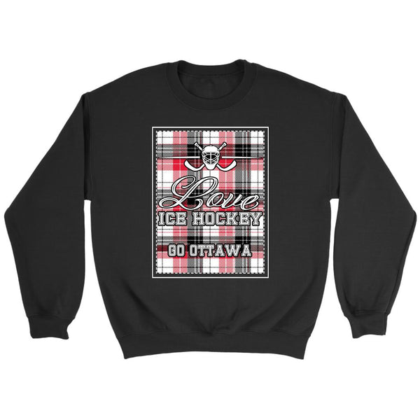 Love Hockey Go Ottawa Fan Gifts Checkered Plaid Unisex Sweaters Sweatshirt-NeatFind.net