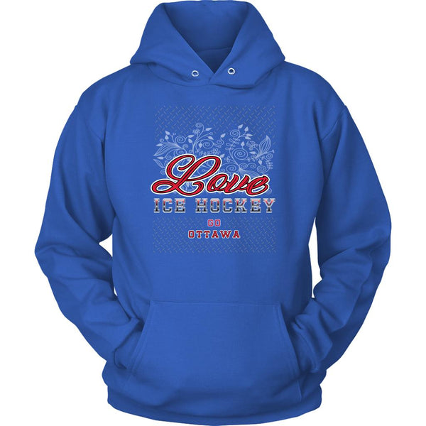 Love Hockey Go Ottawa Fan Gifts Diamond Plate Cool Unisex Hoodie-NeatFind.net