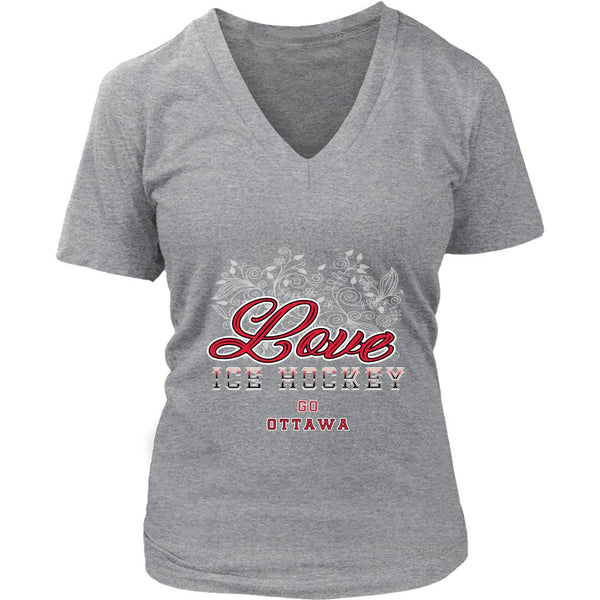 Love Hockey Go Ottawa Fan Gifts Diamond Plate V-Neck T-Shirts For Women-NeatFind.net